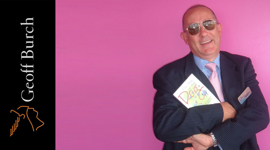 Geoff Pink background with book in hand